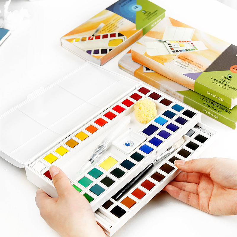 Maries  Solid Watercolor Paint Set /18/24 /36/48 Watercolor Paint / Transparent Sketching Painting