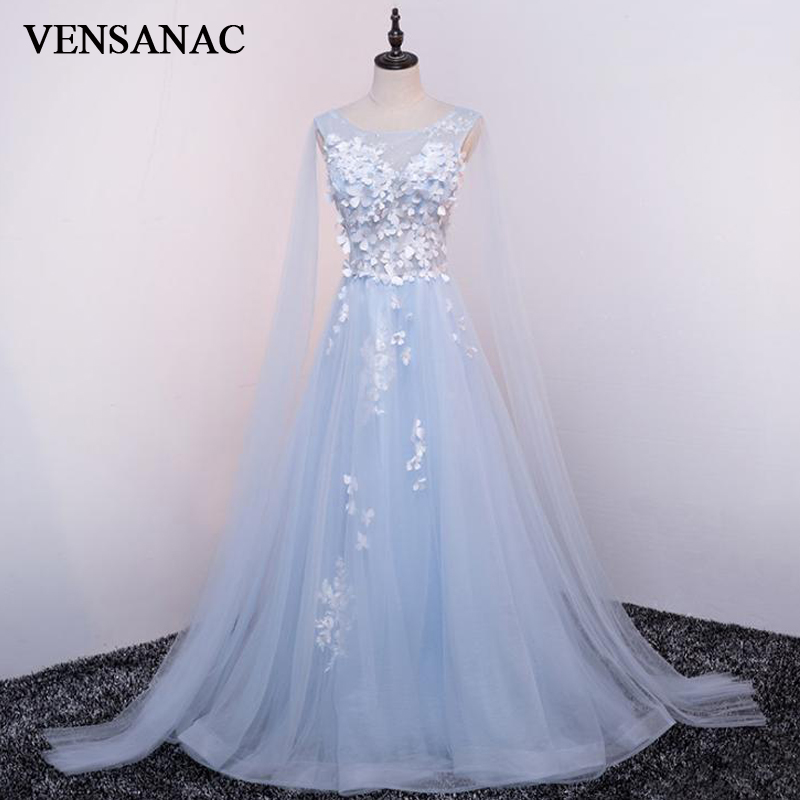 VENSANAC 2018 Crystal O Neck Lace Flowers A Line Long Evening Dresses Elegant Party Appliques Tulle Prom Gowns