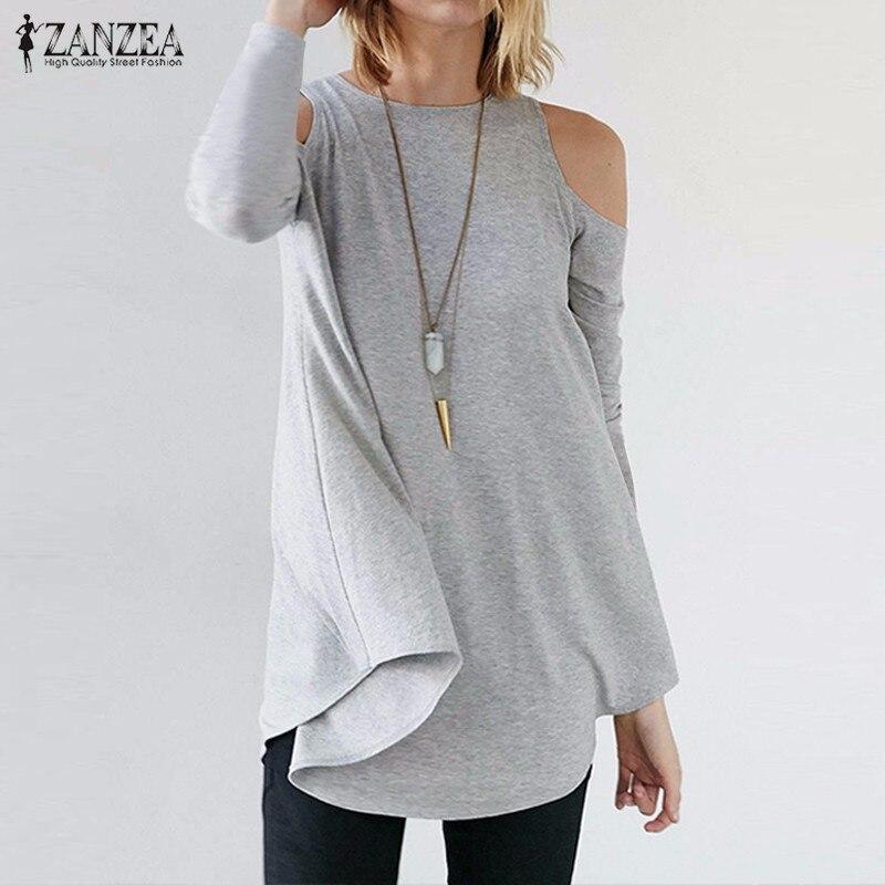 ZANZEA Femmes Tops 2018 Automne Blusas Dames Sexy Tunique Encolure Manches Longues Pull Occasionnel Lâche Blouses Chemises Plus La Taille