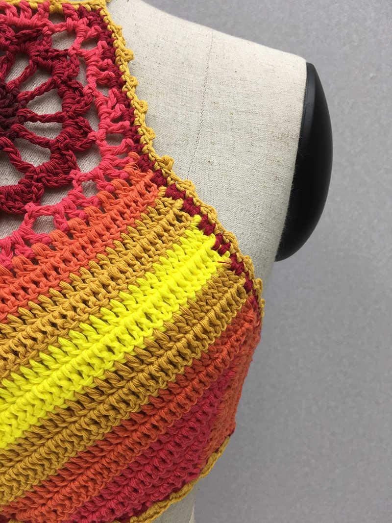 Simenual BOHO sexy dos nu vêtement bain de soleil fleuri vêtements de plage été au crochet à la main camis vintage maillot de bain évidé femmes vêtements