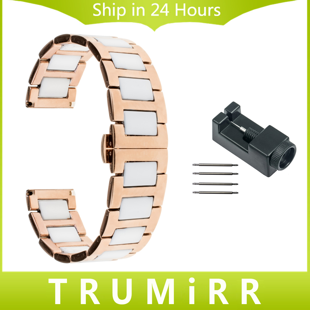 Ceramic + Stainless Steel Watch Band 18mm 20mm for DW (Daniel Wellington) Wrist Strap Butterfly Clasp Bracelet + Link Remover