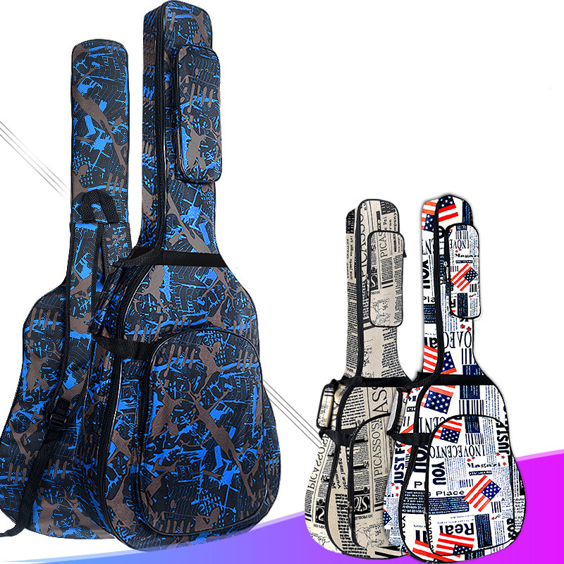 600D Water-resistant Oxford Cloth Double Stitched Padded Strap Gig Bag Guitar Case For 40/41 Inch Acoustic Classic Folk Guitar