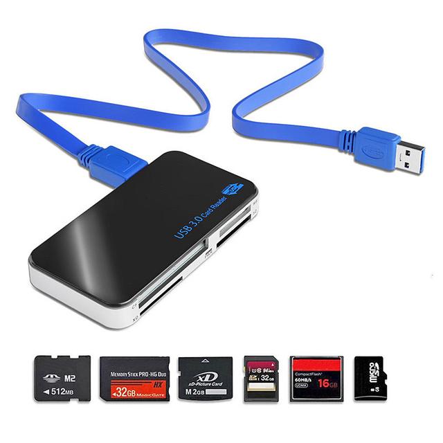 USB 3.0 Tudo-em-1 Leitor de Múltiplos Cartões de Memória Compact Flash CF Adaptador de Leitores de Cartões de Memória MicroSD MS Multifuncionais VHE46 T15 0.1