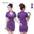 Women 2 Piece Set Purple/Blue/Pink Sexy Airline Stewardess Uniform Costumes Temptation Tops+Mini Skirts Plus Size XL XXL XXXL
