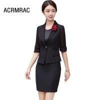 Women suits Slim summer Short sleeve Jacket skirt 2 piece set OL Formal Business Women skirt suits Woman set suits 8815