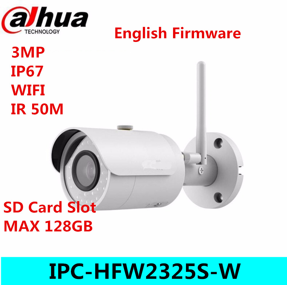 Dahua IPC-HFW2325S-W 3MP IR50M IP67 built-in WIFI SD Card slot Network outdoor WIFI Camera replace IPC-HFW1320S-W IP Camera dahua 4k ipc hfw4830e s ultra hd 8mp built in sd card slot h2 65 ip67 ir 40m poe mini bullet network ip camera
