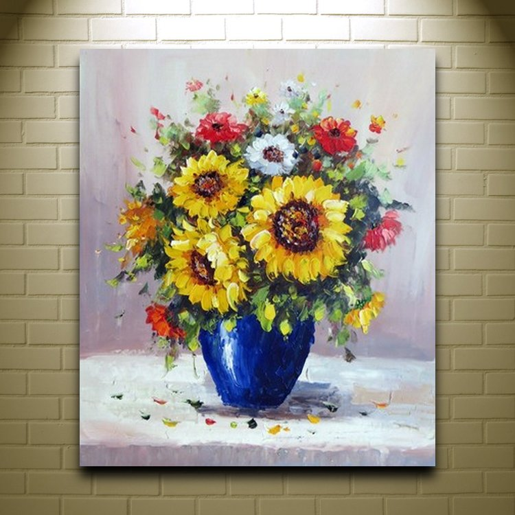 Handpainted beautiful flower oil painting modern art for Beautiful canvas painting