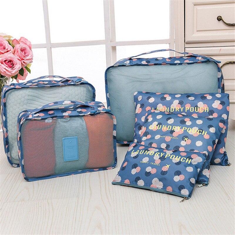 6Pc/Set Clothes Storages Organization Travel Set Suitcase Shoe Lingerie Cosmetic Divider Bags Home Closet Organizer Accessories