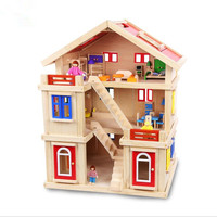 Детская трехэтажный Кукольный дом игрушки дом большая вилла комплект претендует DIY игрушка дом Рождественский подарок игрушки для детей