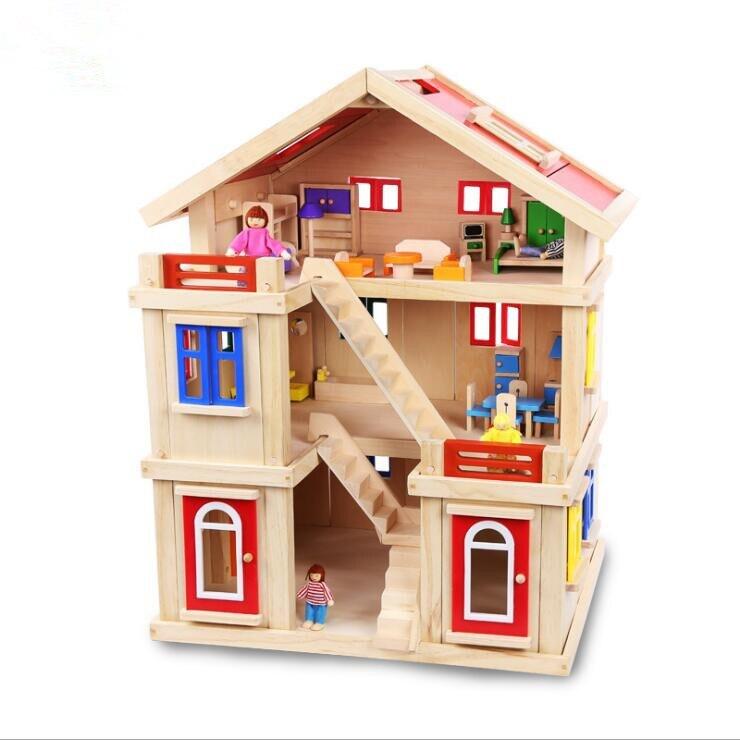 Детский трехэтажный Кукольный дом, игрушечный дом, большая вилла, набор, девочка, ролевые игры, сделай сам, игрушечный дом, рождественский подарок, игрушки для детей, малыш