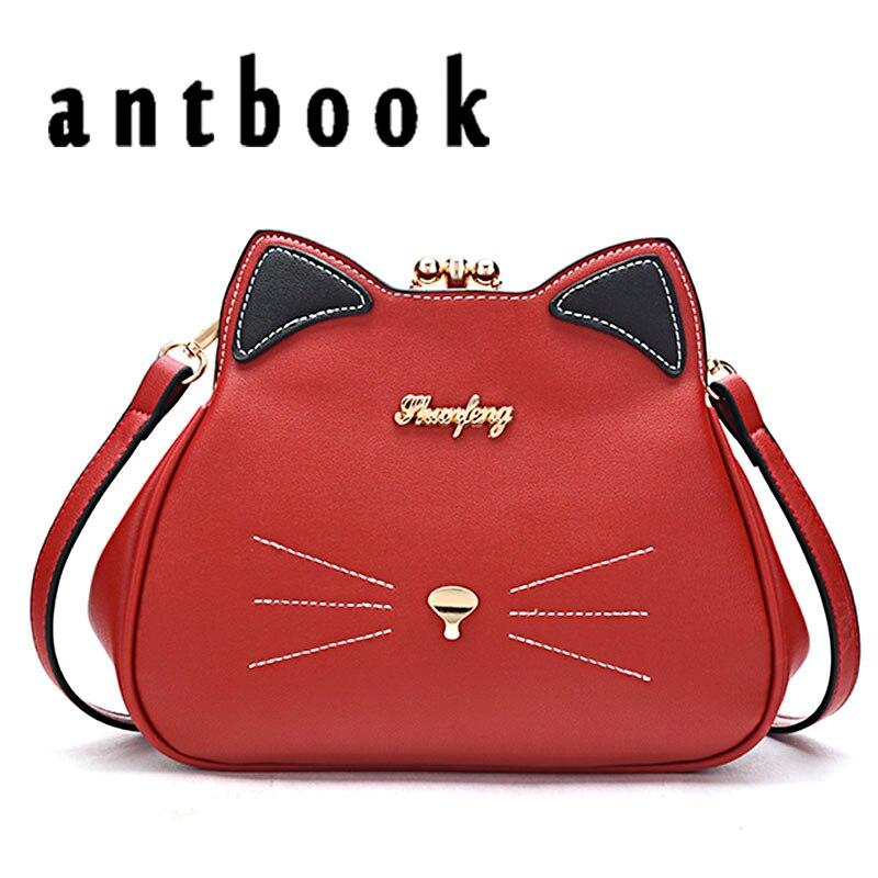 ANTBOOK Cute Cat Women Messenger Bags Female Pu Leather High Quality Crossbody Bag For Women Fashion Solid Shoulder Bags Handbag