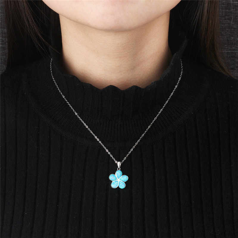 925 Silver Clover Pendant Necklaces for Women Blue Fire Opal Clover Chokers Necklace Flower Plant Jewelry Accessories Gift