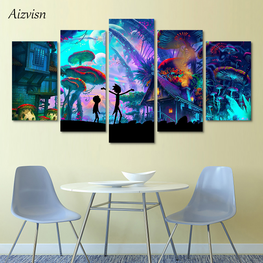 Aizvisn 5 Panels Canvas Painting Rick and Morty Cartoon Anime Poster Wall Art Painting Modern Home Decor Picture Children's Room