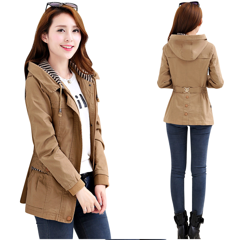 Ladies coats Fashion 2019 Spring Autumn New Korean Hooded   Trench   coat Short Slim Womens windbreaker Plus size women overcoat 4XL