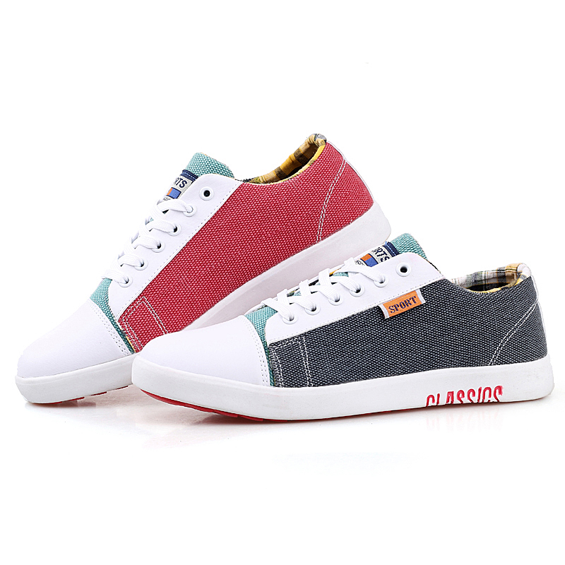 characteristic model boys canvas skate shoes mans mixed colors patchwork fabric new model mens canvas shoes