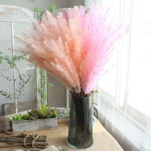 HUAIU Artificial Flower Hairy Grass For Home Decoration Wedding Party Bridal Bouquet Wall Accessories Fake Flowers