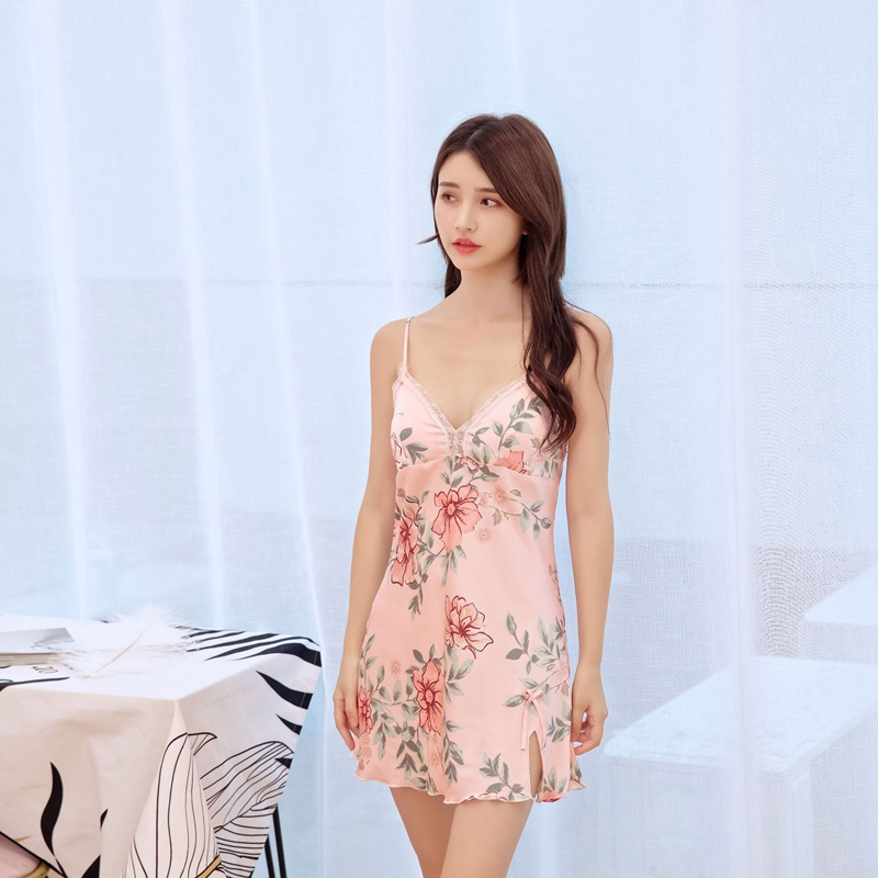 Pink Pull Size Women Floral Night Dress Printed Nightgown Sexy Sleepwear Lingerie Dress Ropa Sexy Para El Sexo Womens Clothing