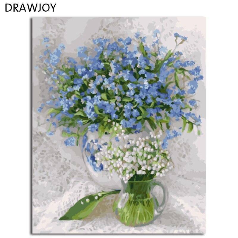 DRAWJOY Foto Incorniciata Pittura di DIY Dai Numeri Pittura A Olio Del Fiore Home Decor Per Soggiorno 40*50 cm GX21615