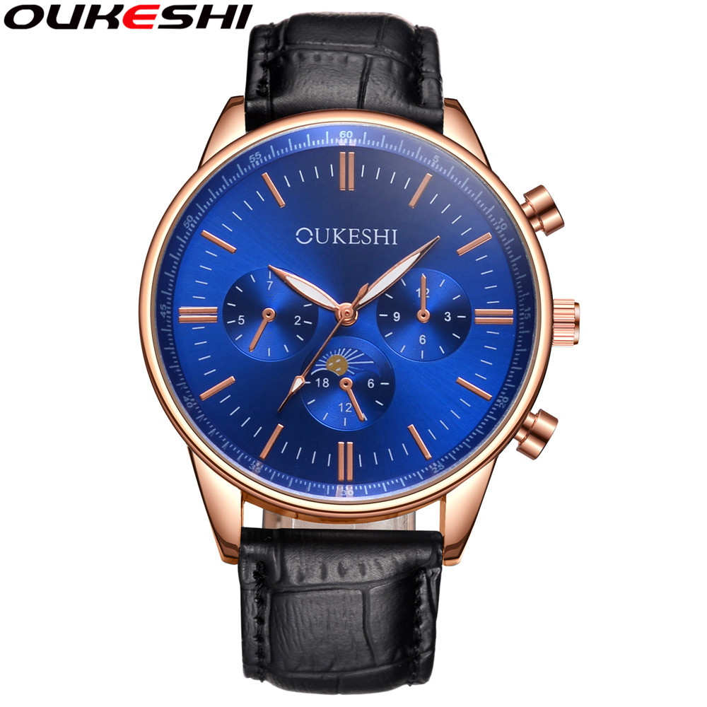 2017 OUKESHI Brand Top Luxury Men Business Watch Casual Men Quartz Wristwatches Relogio Masculino Male Clock