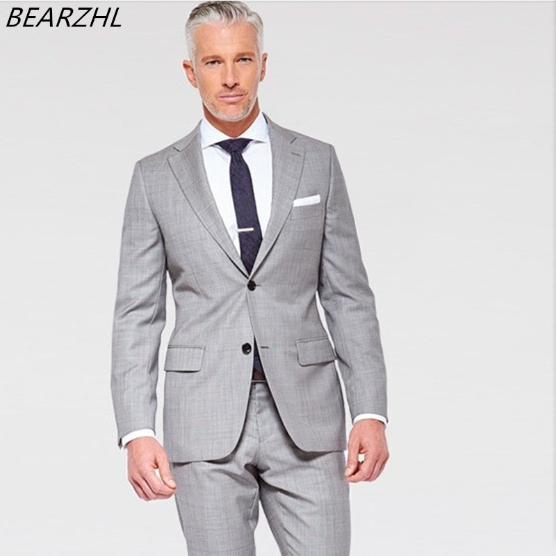 Suit Men Groom Tuxedo Light Gray Custom Made Suits 2017