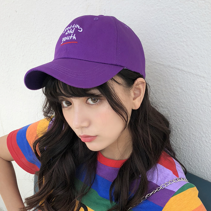 c089a37f778 Summer Womens Lovely Baseball Caps 2018 Korean Ulzzang Harajuku Chic  Letters Purple Snapback Hip Hop Ca