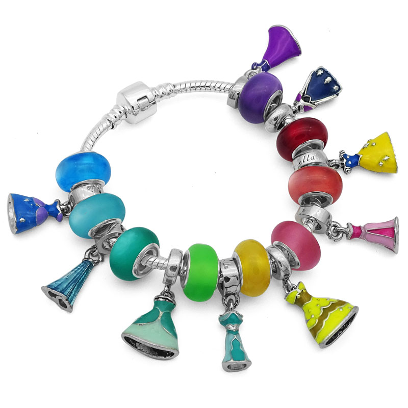 Bijoux Colorful Princess Dress Bracelet & Bangles for Woman European DIY Glass Bead Pan Charm Bracelets Female Jewelry