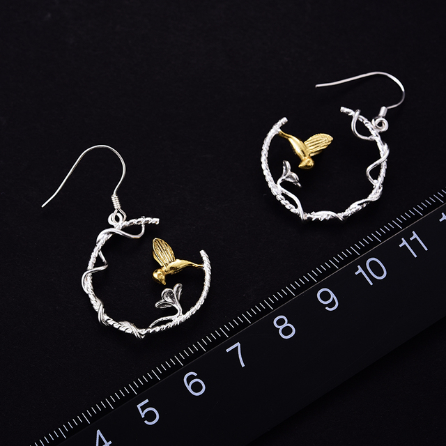 Lotus Fun Real 925 Sterling Silver Natural Creative Handmade Fine Jewelry Perfect Lovely Bird Drop Earrings for Women Brincos