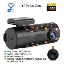 Nuovo mini wifi car dvr lens rotativo della macchina fotografica dell'automobile di visione notturna di hd dash cam recorder bluetooth senza fili snapshot auto videocamera