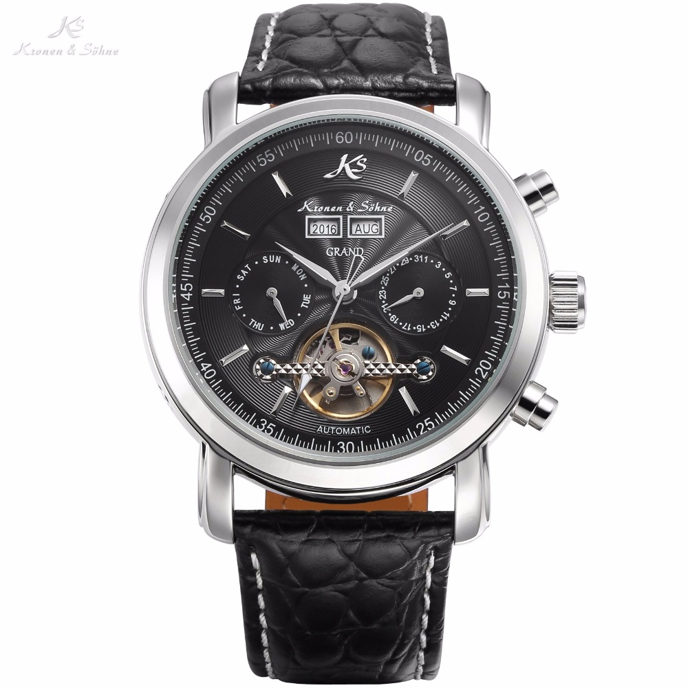 KS Grand Series Automatic Mechanical Wrist Watch Black Date Tourbillon Stainless Steel Men Leather Clock +Wooden Gift Box /KS367 ultra luxury 2 3 5 modes german motor watch winder white color wooden black pu leater inside automatic watch winder