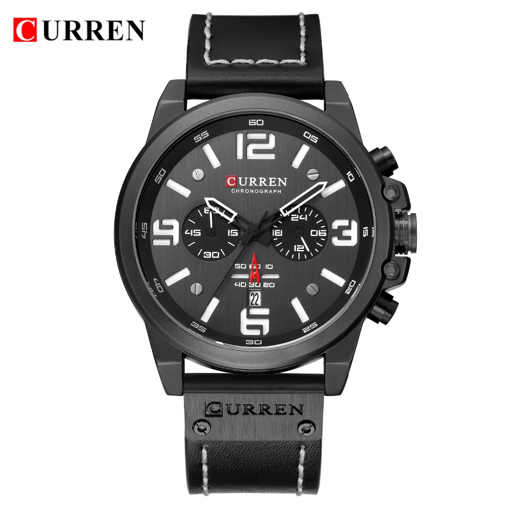 HTB1CglZauL2gK0jSZFmq6A7iXXau NEW CURREN Mens Watches Top Luxury Brand Waterproof Sport Wrist Watch Chronograph Quartz Military Leather Relogio Masculino