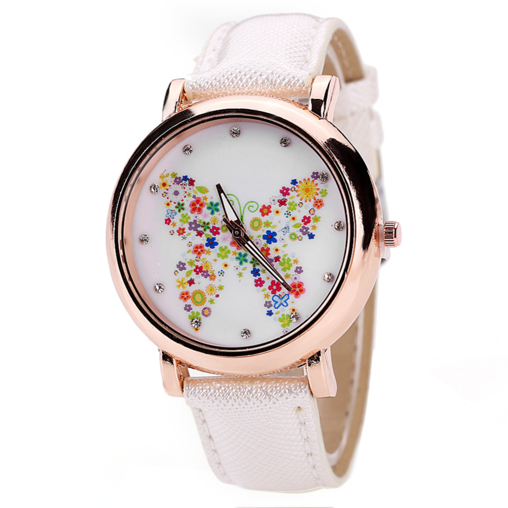 0b73b17f12730 Mulheres Relógios De Pulso de Couro 2018 Da Marca de moda Borboleta Flor  Senhoras Relógios do Relógio das Mulheres Relógio Saat Montre Femme Relogio