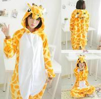 Free Pp Adults Flannel Pyjama Suits Cosplay Costumes Garment Cute Cartoon Animal Onesies Pajamas Giraffe Halloween