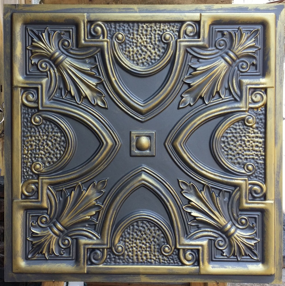 Decorative tin tiles iron blog pl11 faux tin ceiling tiles ancient gold color embossed cafe club pub decorative wall 10tiles lot dailygadgetfo Choice Image