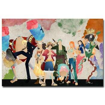 Аниме плакат гобелен шелковый ван пис арт акварель