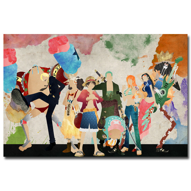 one piece strong world characters art silk fabric poster print 12x18