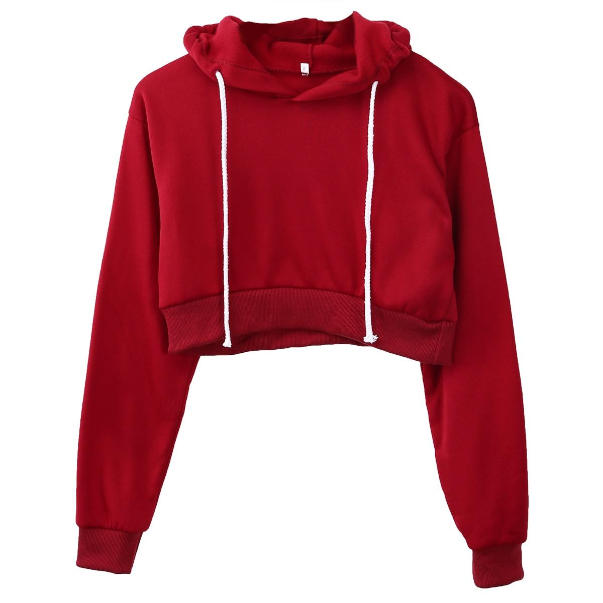 Black Red Hoodies Women Short Typed Crop Top Hoodie -3469