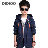 Kids Denim Coats For Boys Jeans Jackets Big Size Children Autumn Trench For Boys Hooded Clothes