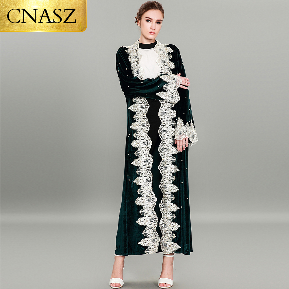 Elegant fashion from lace open muslim dresses pearl and abaya for women islamic turkey 2019