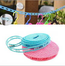 New Outdoor windproof dryingrope clothes hangers plastic 5M Non-slip Nylon Storage Laundry clothesline hang rope with hook