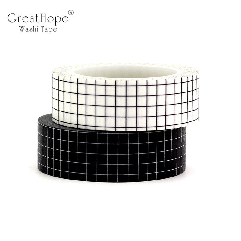 2PCS Black & White Grid Washi Tapes Japanese Paper DIY Planner Blue Kraft Masking Tape Adhesive Tapes Stickers Decor Stationery