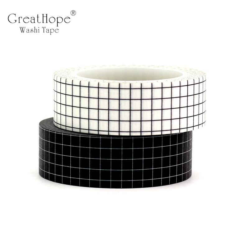 2PCS Black & White Grid Washi Tapes Japanese Paper DIY Planner Blue Kraft Masking Tape Adhesive Tapes Stickers Decor Stationery