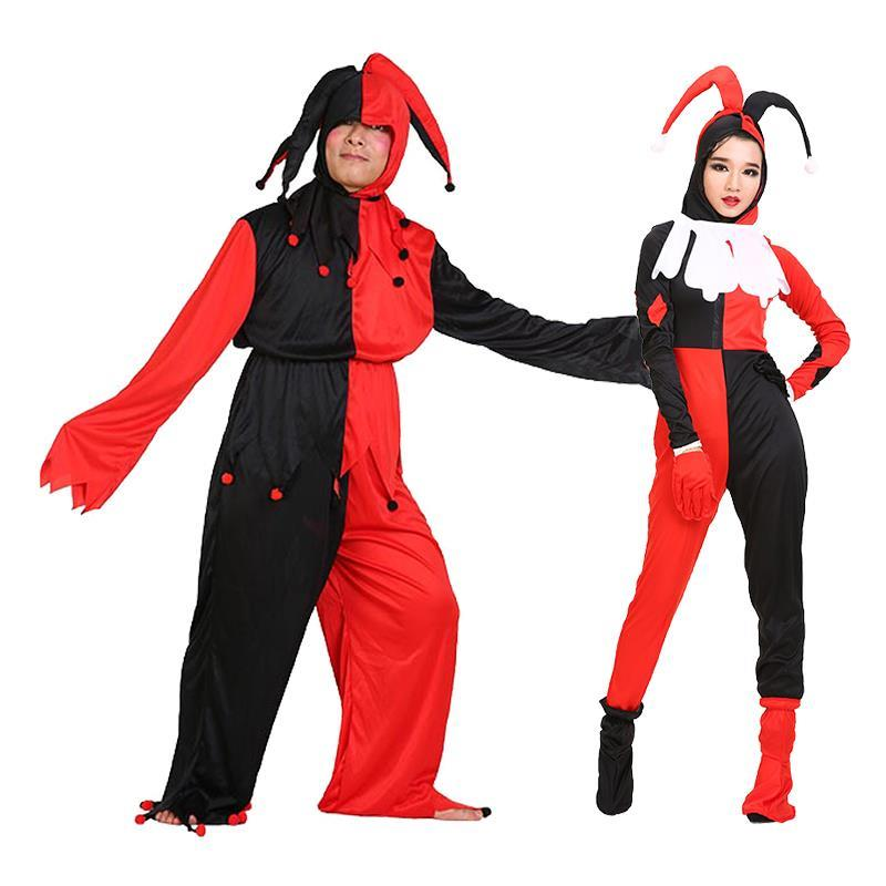 Free shipping,halloween adult men women black red check clown costume clown clothes trouses gloves shoes hat