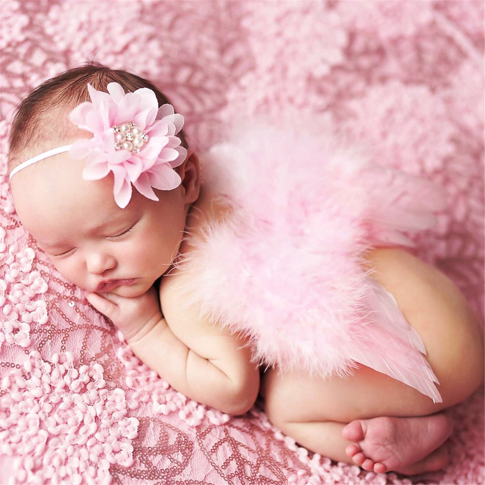 Cute angel wings feather baby girl flower pearl chiffon hairband photo shoot hair band newborn photography props for 0 9 months in hats caps from mother