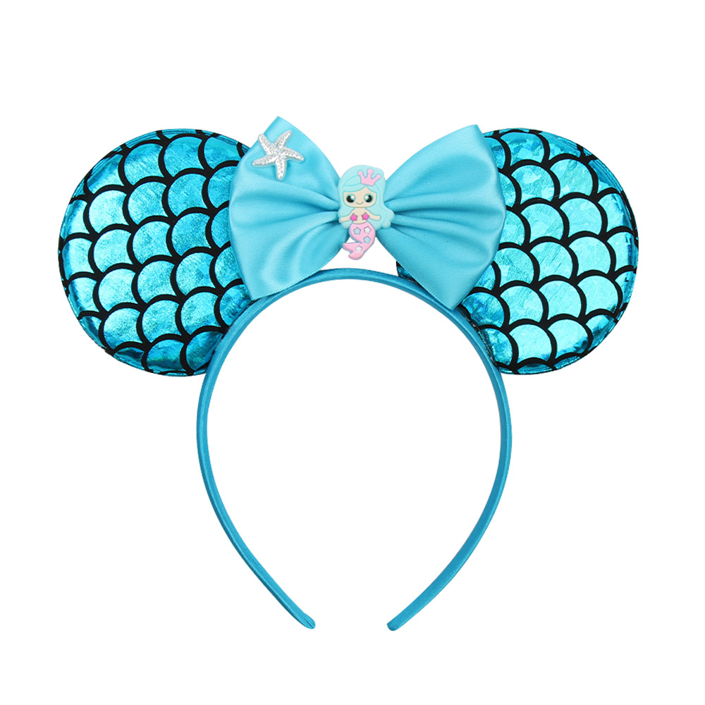 Xugar Hair Accessories Headband for Girls Mermaid Fish Scale Mouse Ears Hairband with Starfish Satin Bow Head Band Kids Headwear in Hair Accessories from Mother Kids