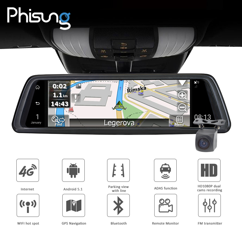 V9 10Full Touch IPS 4G Android Mirror GPS FHD 1080P Dual lens Car DVR vehicle rearview mirror camera ADAS BT WIFI
