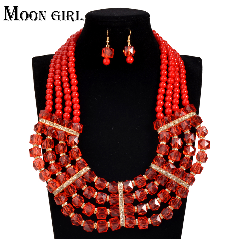 african Nigeria Wedding beads jewelry set 8 color acrylic beads ...