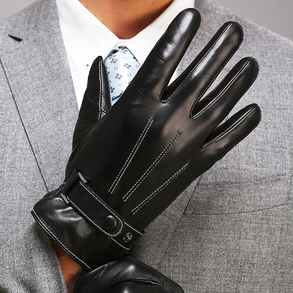 Leather driving gloves with zipper - 2017 New Arrival Men Touchscreen Glove Thicken Thermal Wrist Winter Genuine Leather Gloves Top Quality Goatskin
