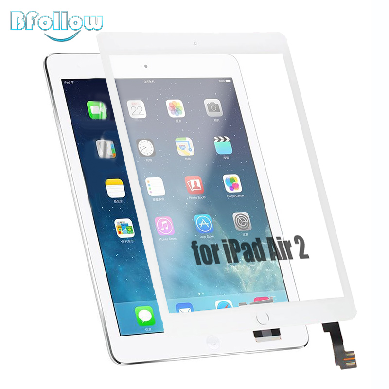 BFOLLOW Touch Screen for iPad Air 2 iPad 6 Panel Screen Assembly with Frame Sticker with Home Button A1566 A1567 Replacement yilizomana for ipad air 2 battery 7340mah li ion internal original replacement battery for ipad 6 air 2 a1566 a1567 with tools