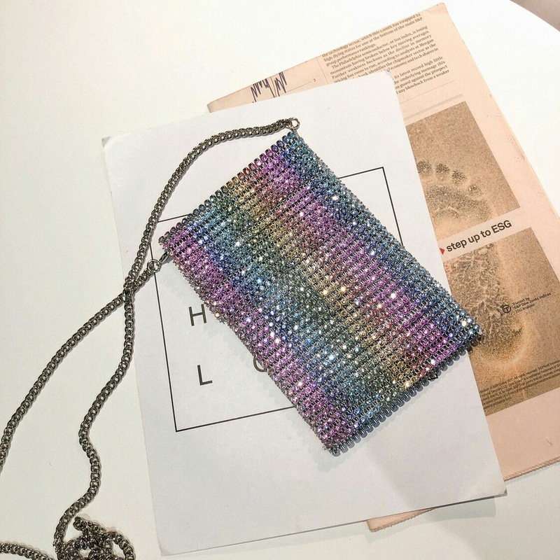 Purse Clutch Messenger-Bag Square Diamond Small Women And Colorful for Ins New
