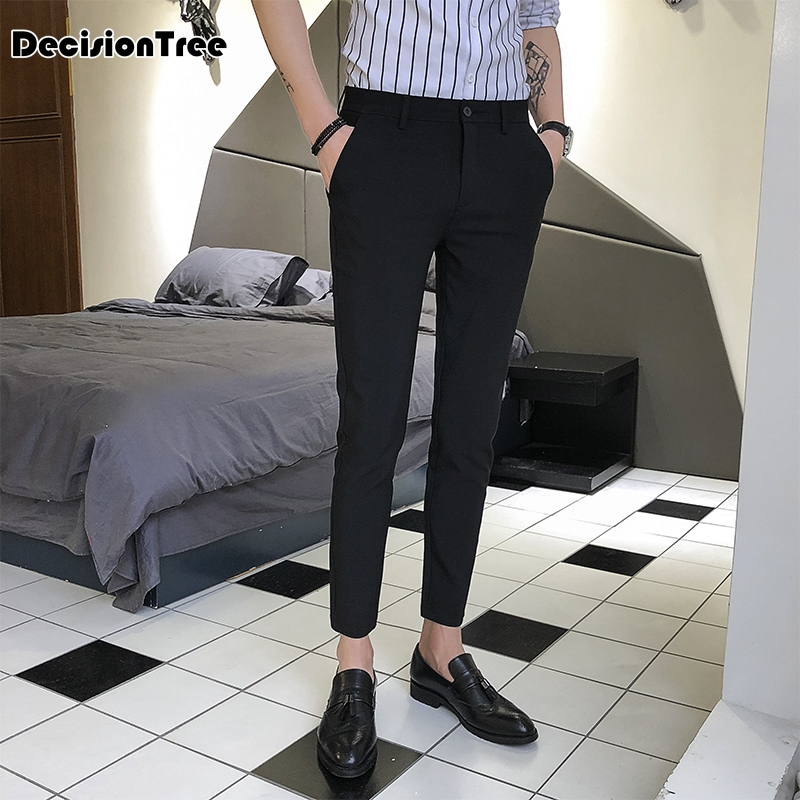 2019 summer men suit pants anti wrinkle mens work pants men pants business casual trousers Elastic Casual Pants Men Trousers
